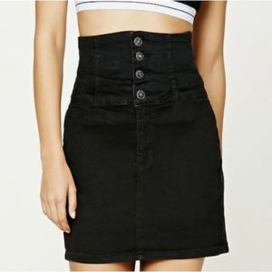 Dresses & Skirts - High-Waisted Waist Rise Stretchy Denim Black Skirt